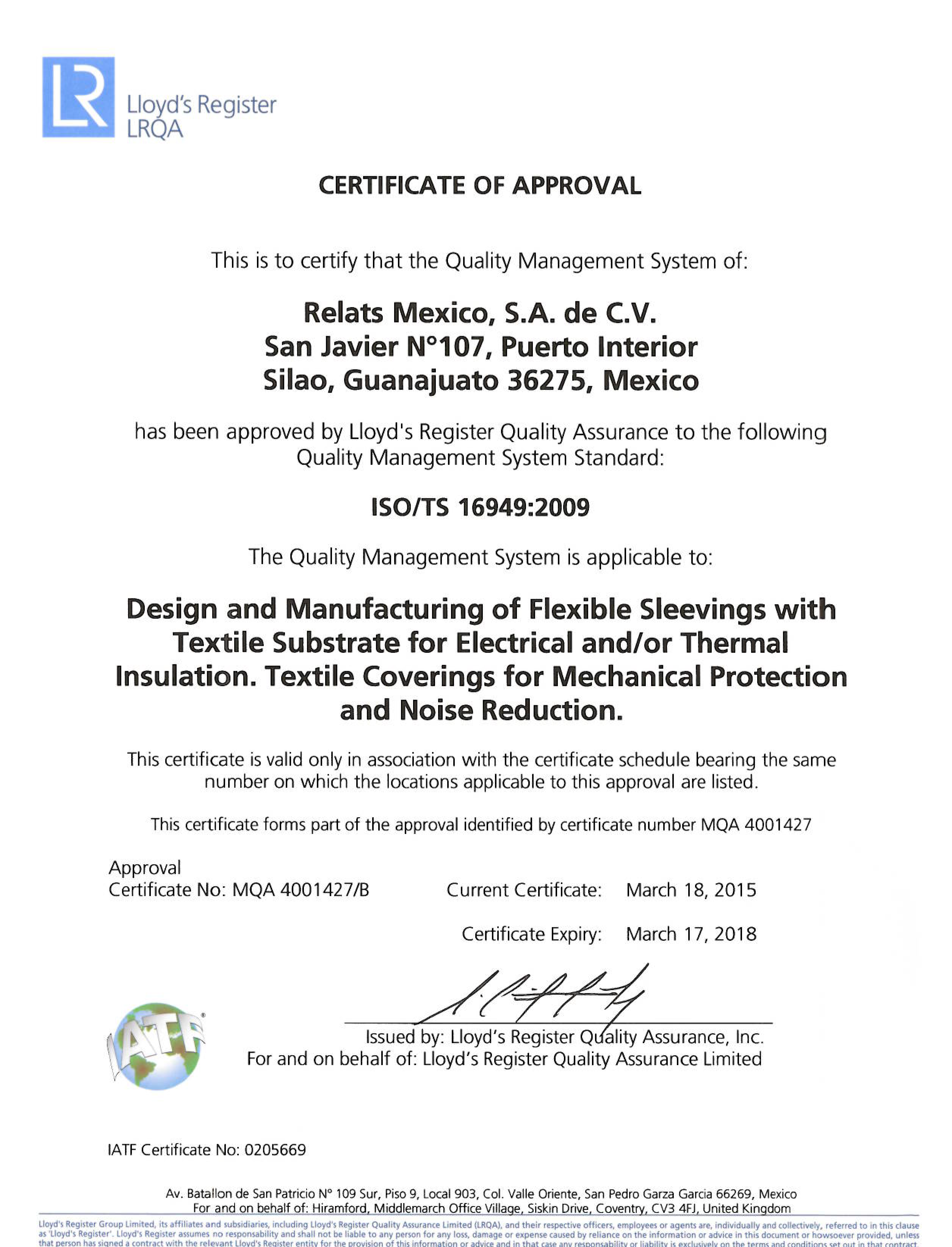 ISO/TS 16949:2009 Certificat RelatsMèxic