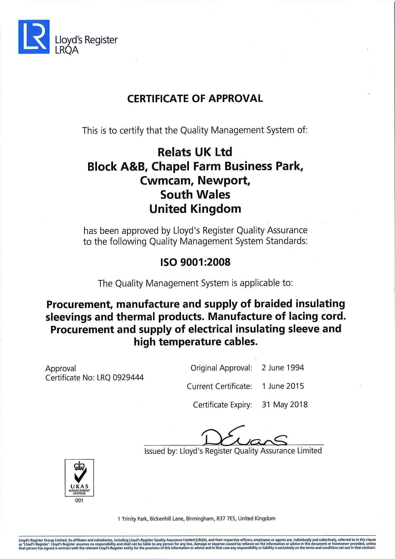 ISO 9001:2008 Certificat RelatsUK