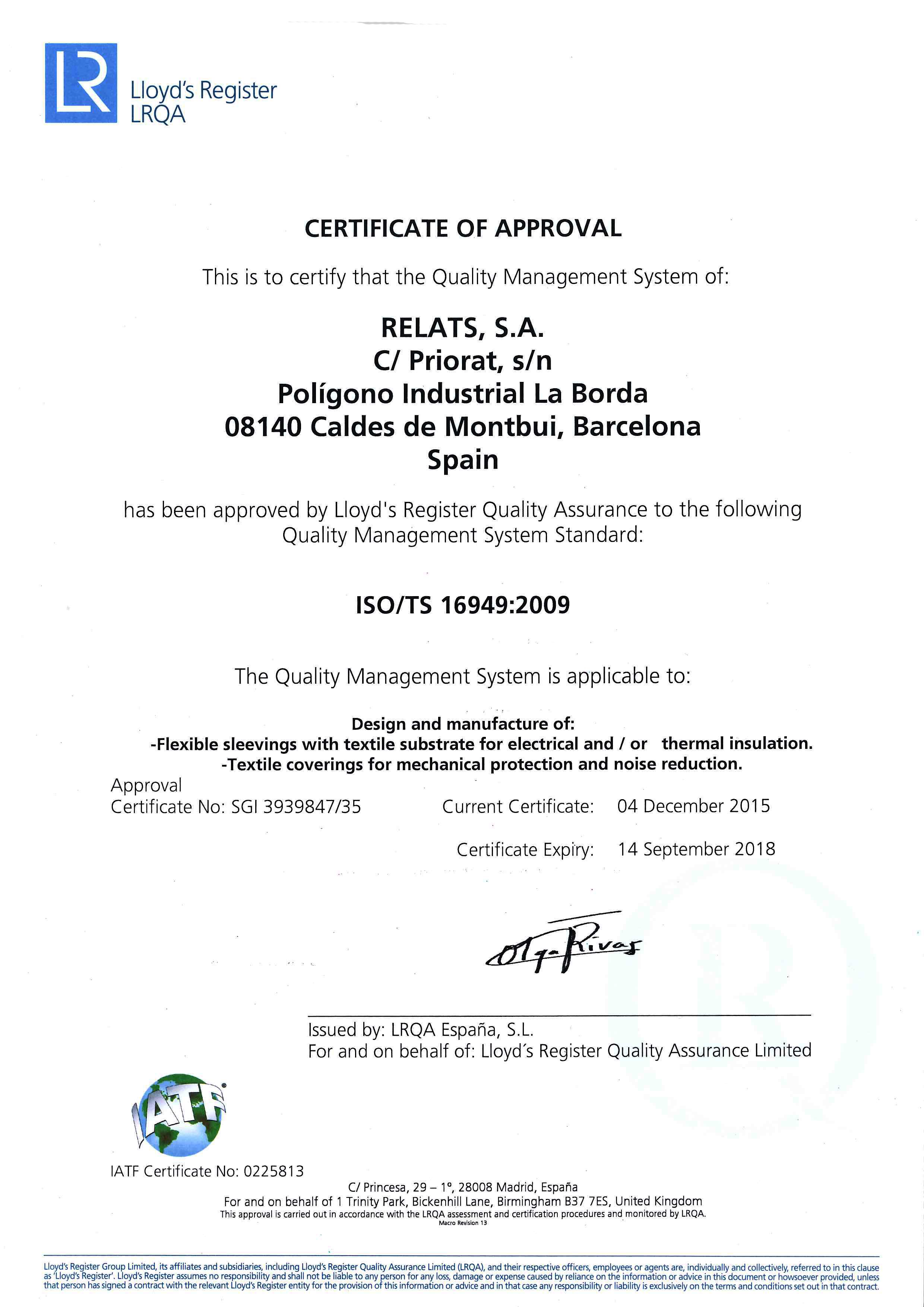 ISO/TS 16949:2009 Certificat Relats Caldes de Montbui