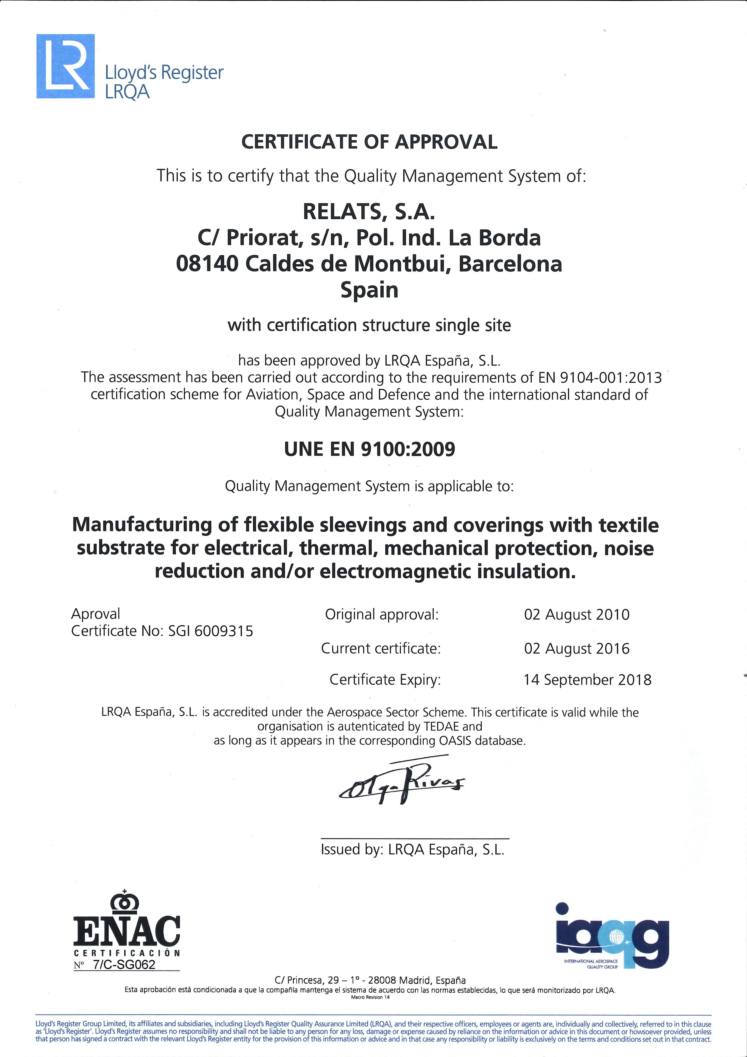 EN9100:2009 Certificat Relats Caldes de Montbui