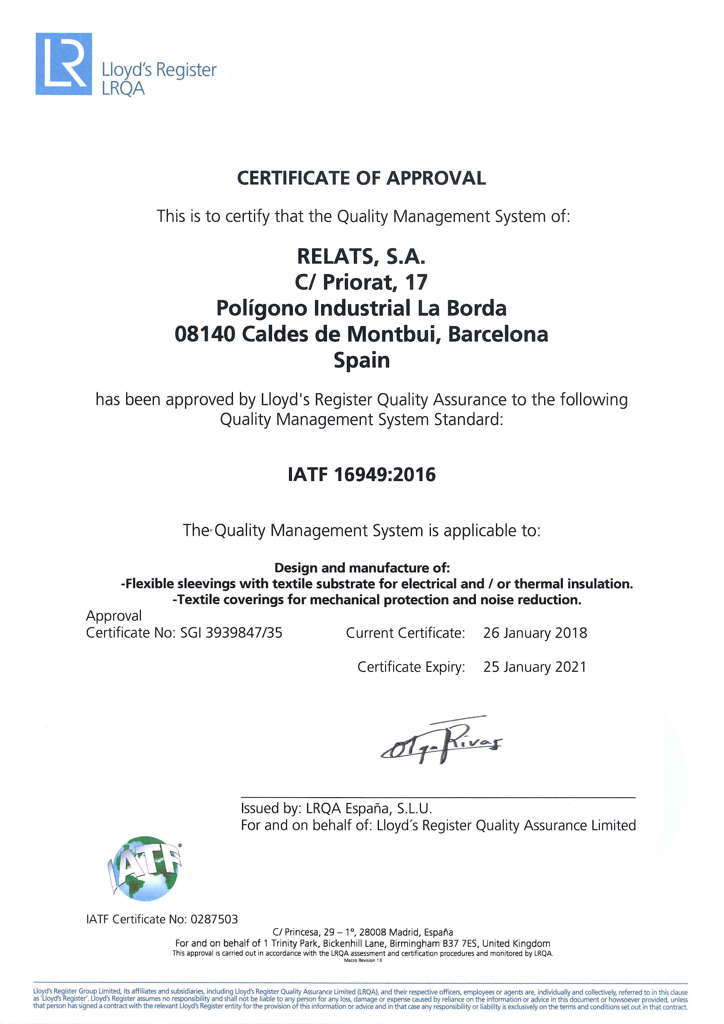 IATF 16949:2016 Zertifikat Relats Caldes de Montbui