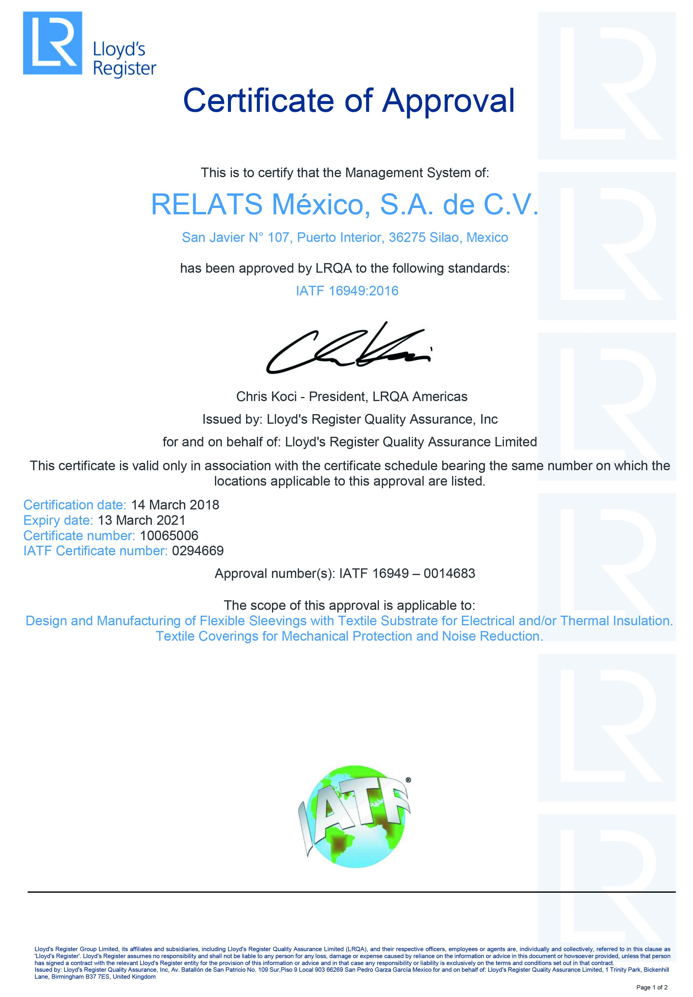 IATF 16949:2016 Certificat RelatsMèxic