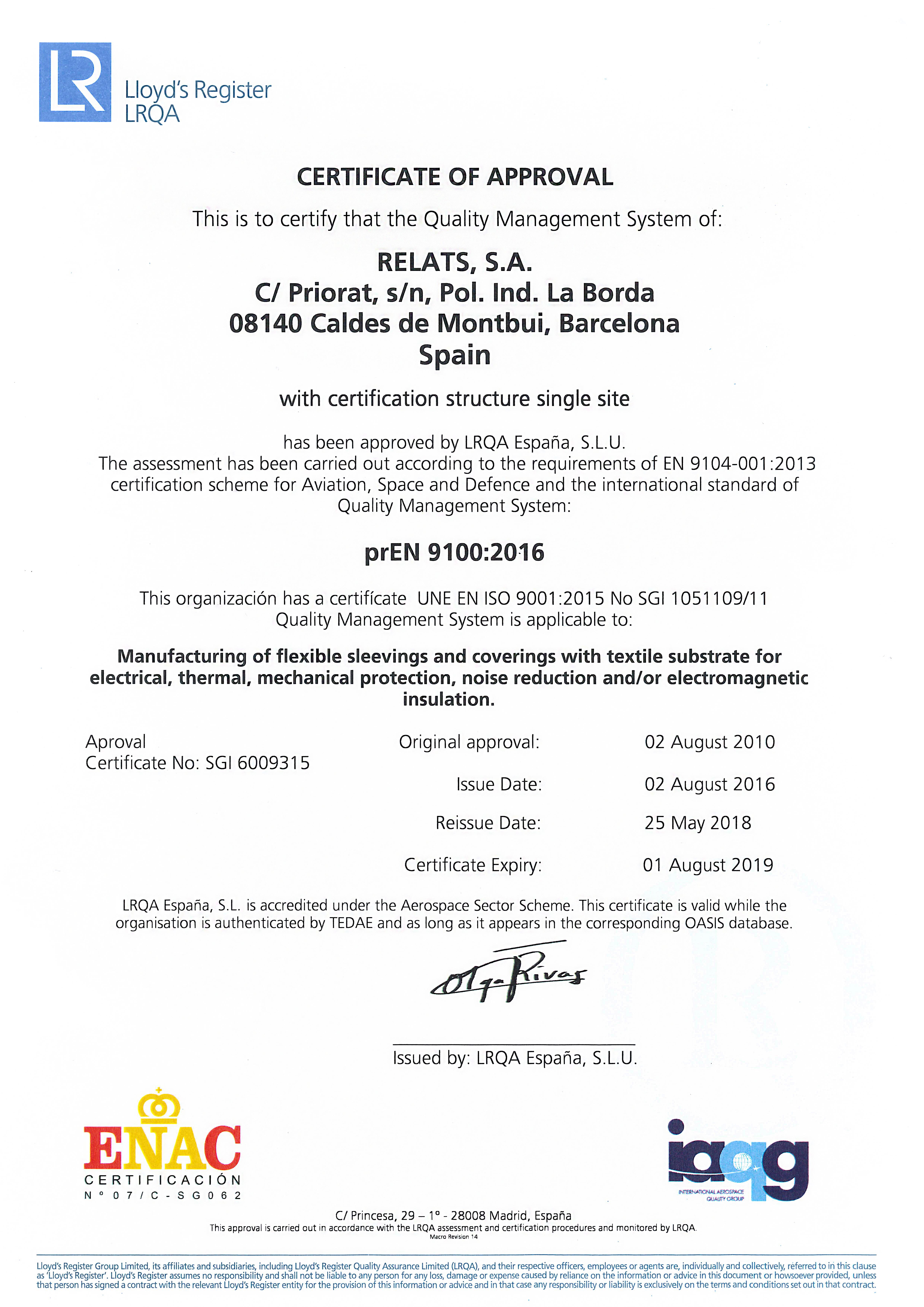 EN9100:2016 Certificate Relats Caldes de Montbui