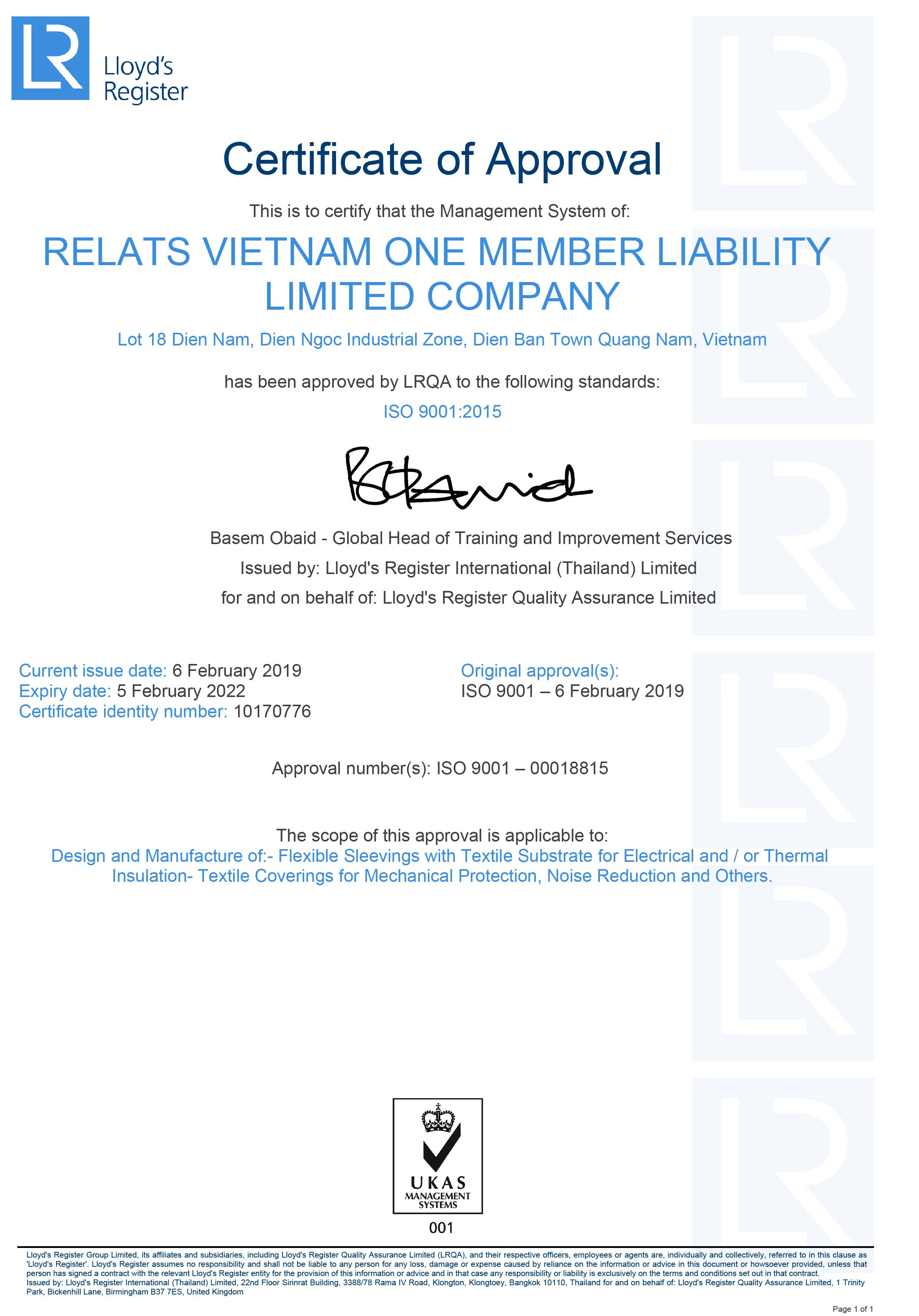ISO 9001:2015 Zertifikat Relats Vietnam