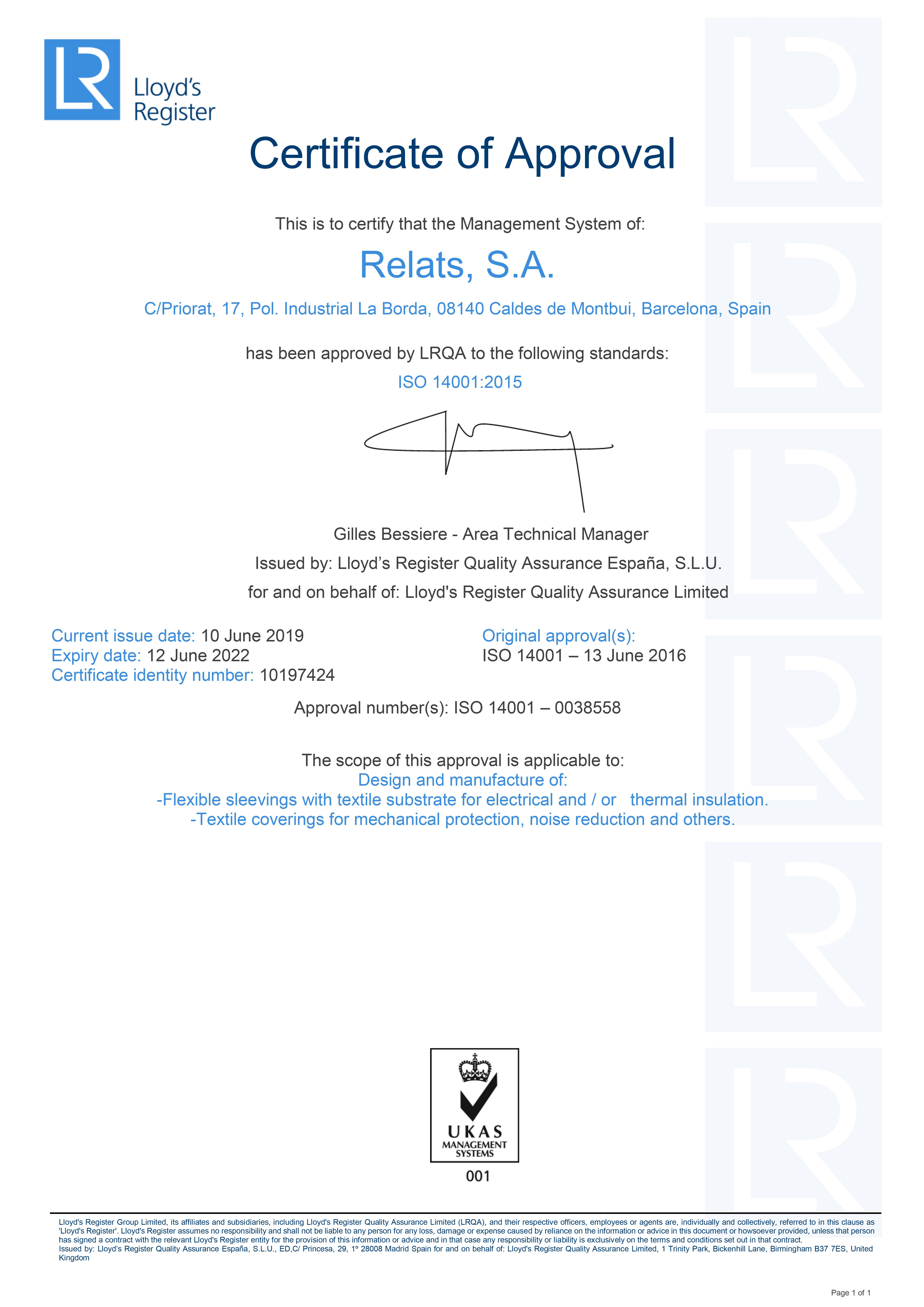 ISO 14001:2015 Zertifikat Relats Caldes de Montbui