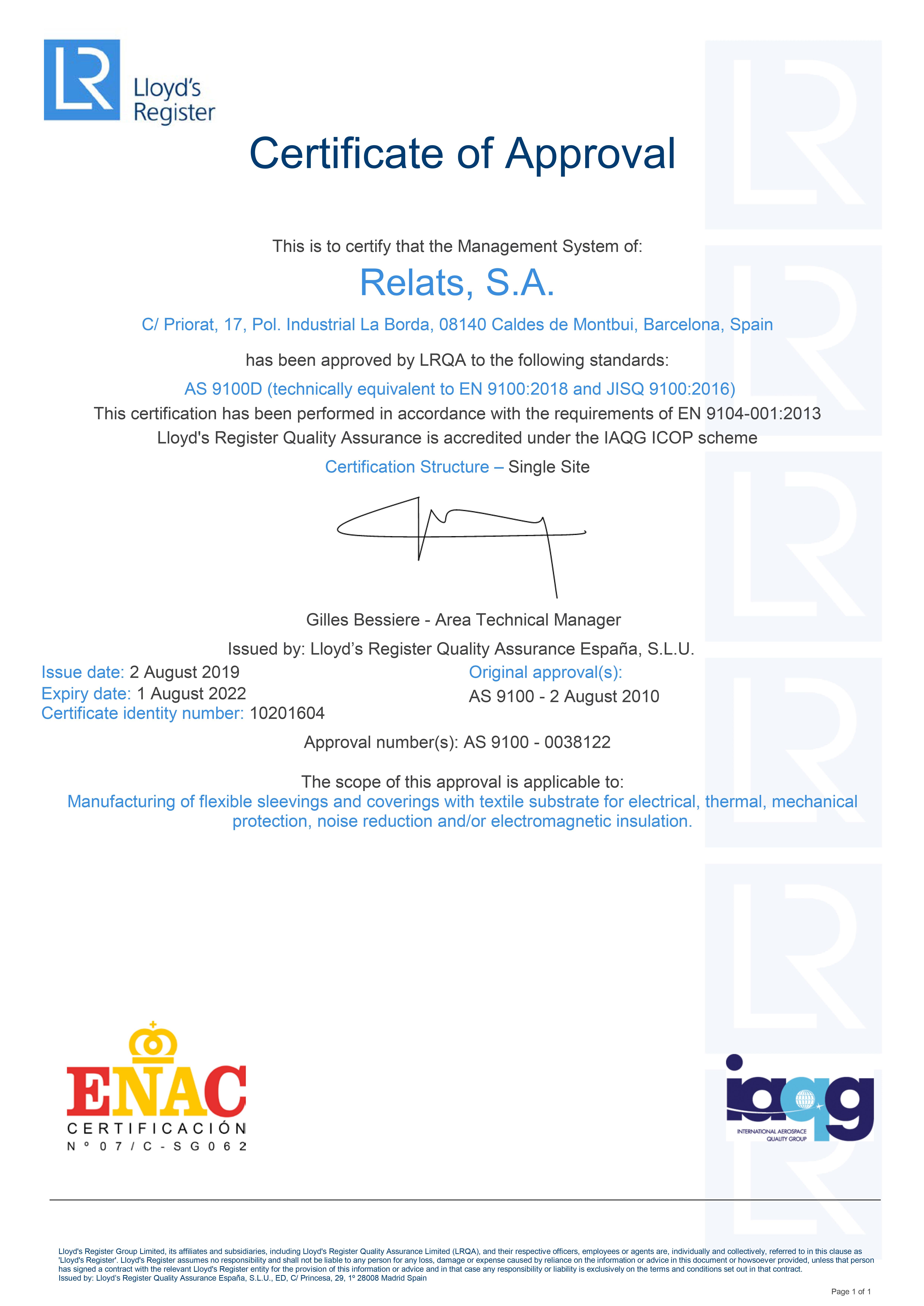 EN9100:2016 Certificat Relats Caldes de Montbui