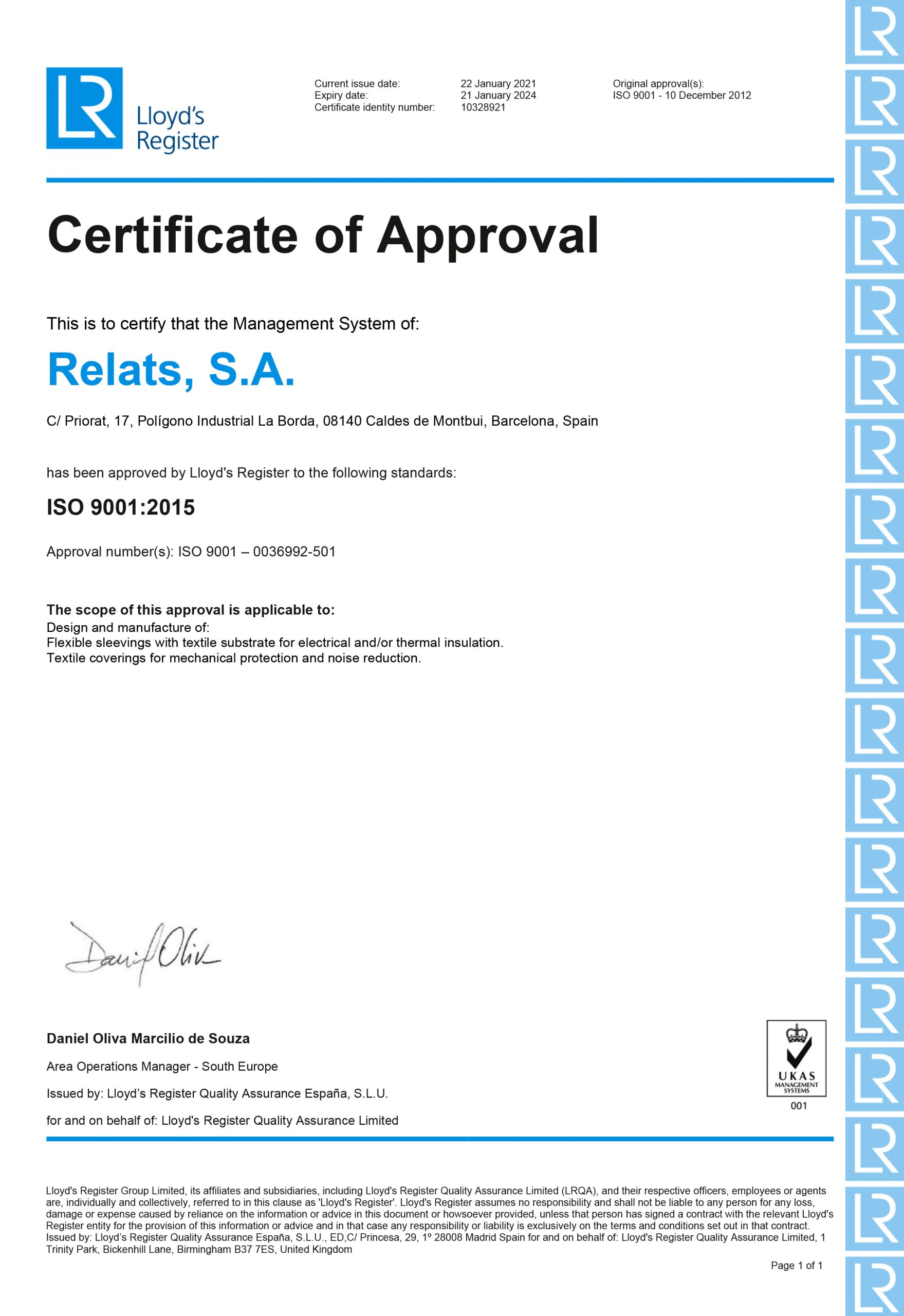 ISO 9001:2015 Relats Caldes de Montbui