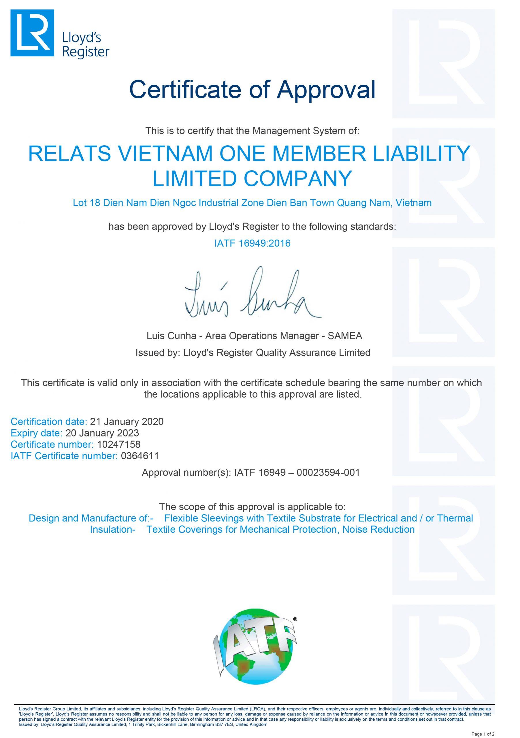 IATF 16949:2016 Relats Vietnam